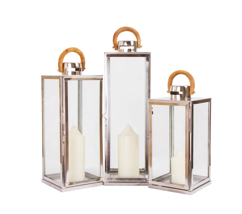Noleggio candelabri lanterne inox quadrate con manico in for Lanterne in legno